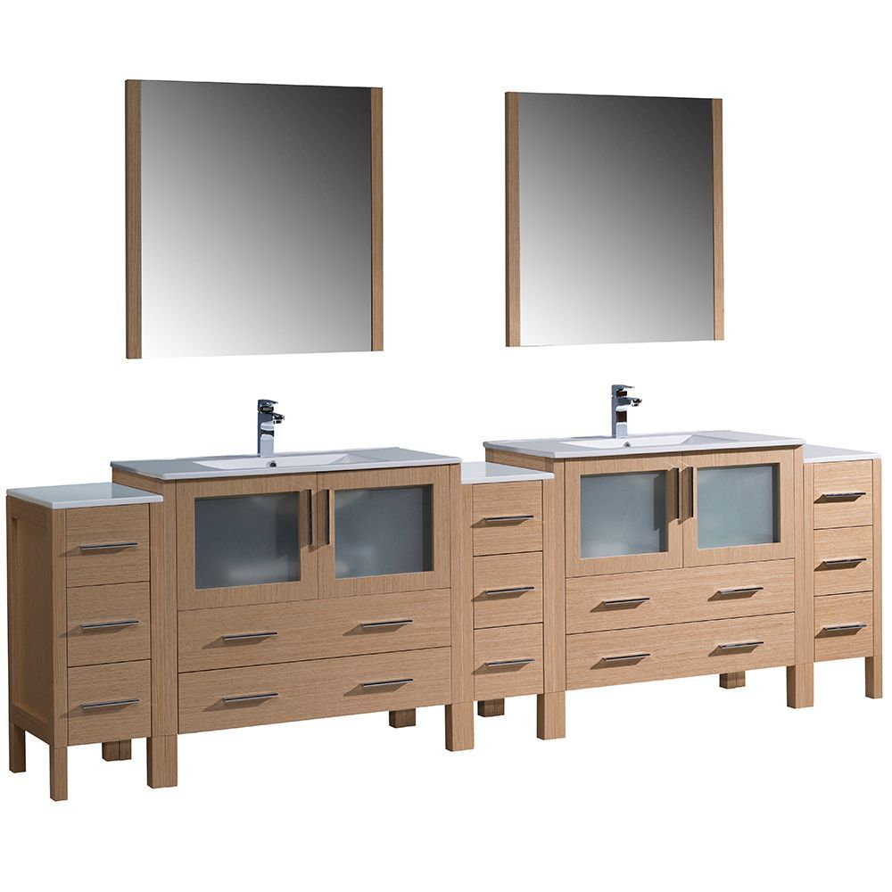 Fresca Torino 108 Inch Light Oak Modern Double Sink Bathroom Vanity With 3 Side Cabinets And Integrated Sinks Bathroom Sink Vanity Double Sink Bathroom Double Sink Vanity