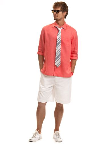 men in white shorts and coral shirts | Men's Linen Shirts, Casual ...