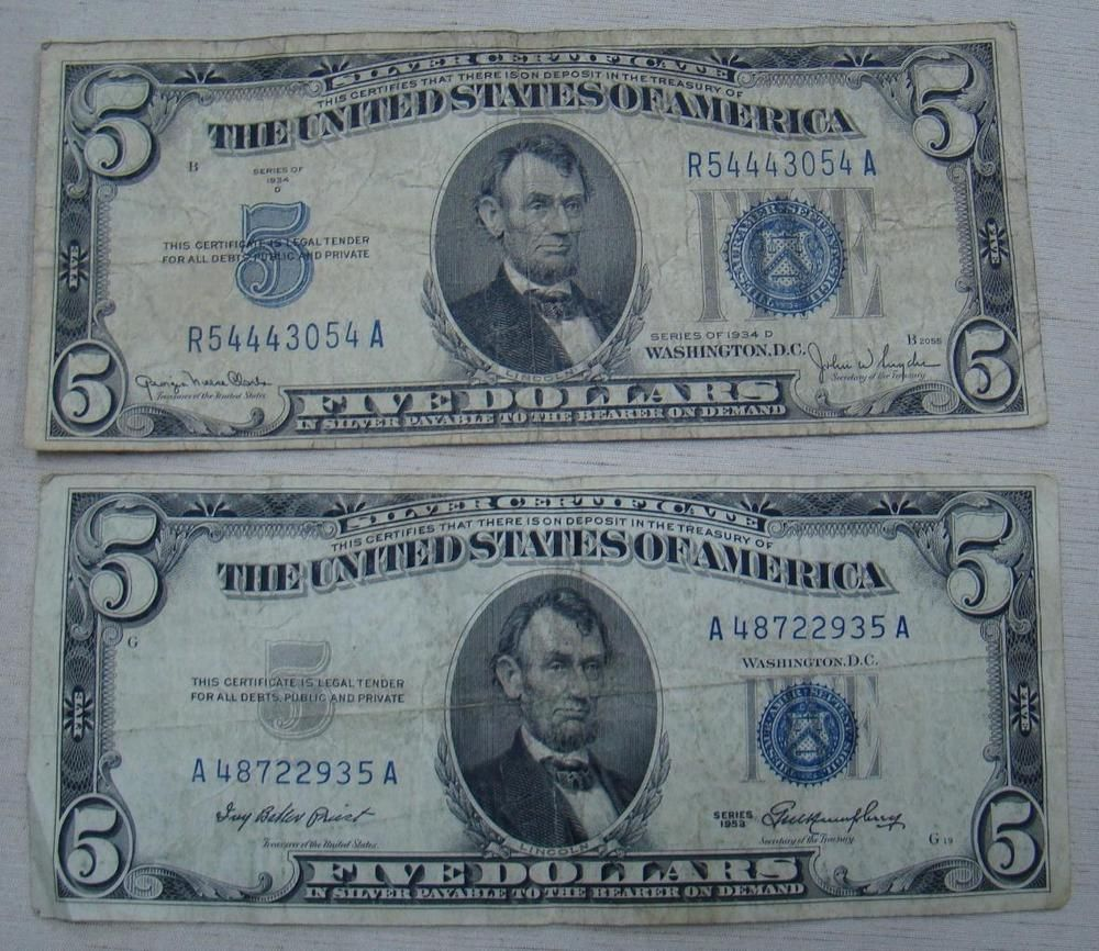 1934 /&1953 $5 Silver Certificate Blue Seal Lot of 5