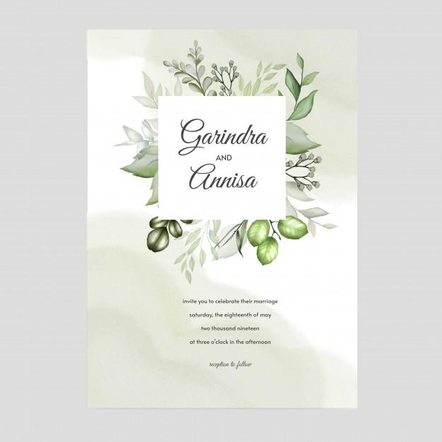 Elegant Watercolor Wedding Invitation Card Template Design