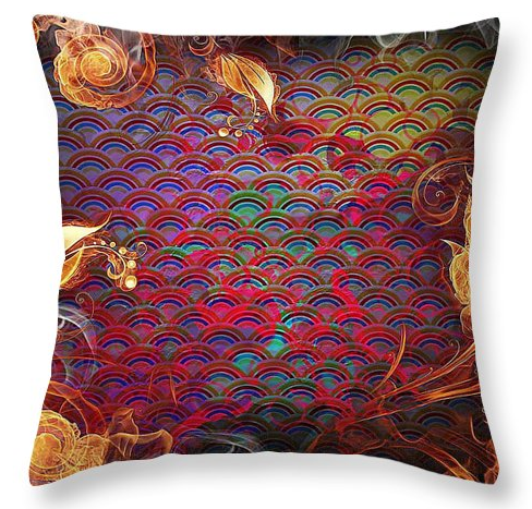 Purely An Experiment With Shapes And Colours This One Feels Quite Flamboyant And Free Red And Gold Cushion Design Design