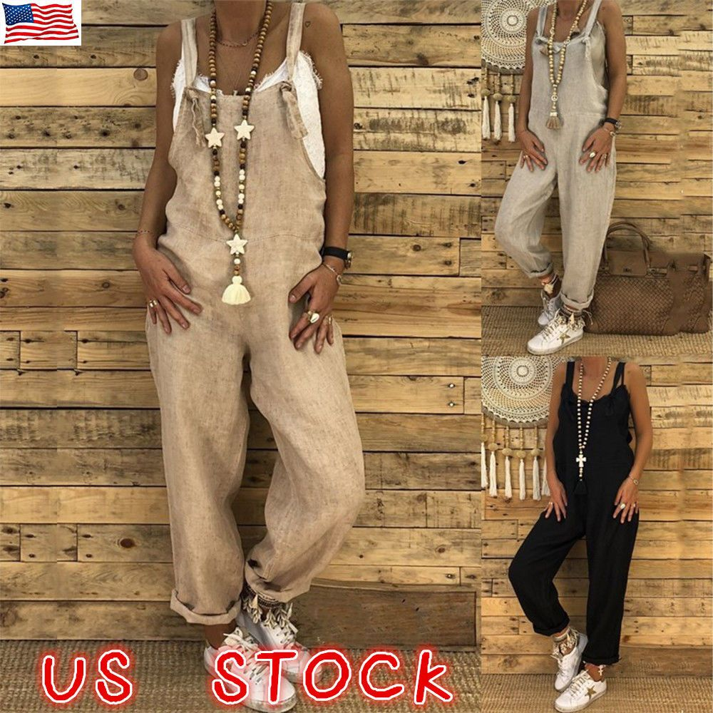74572965dcbb Women s Casual Loose Linen Cotton Jumpsuit Dungarees Playsuit Trousers  Overalls  Unbranded  Jumpsuit  Casual