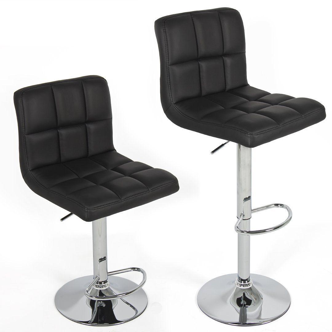 Amazon Com Chic Modern Adjustable Swivel Bar Stools Black Set Of 2 Barstools With Modern Bar Stool Design Leather Swivel Bar Stools Designer Bar Stools