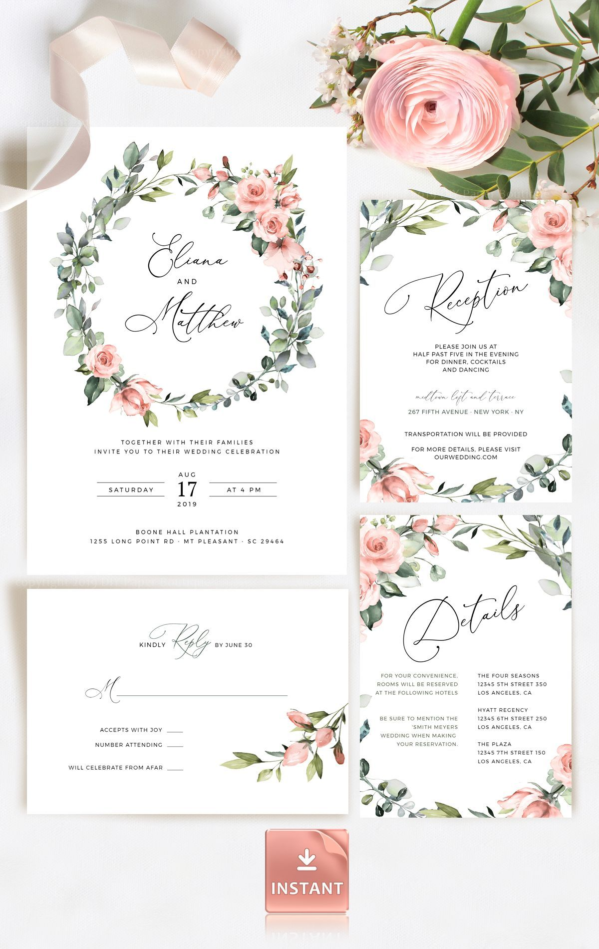 Wedding Invitation Template Kit with Greenery, Red Roses and