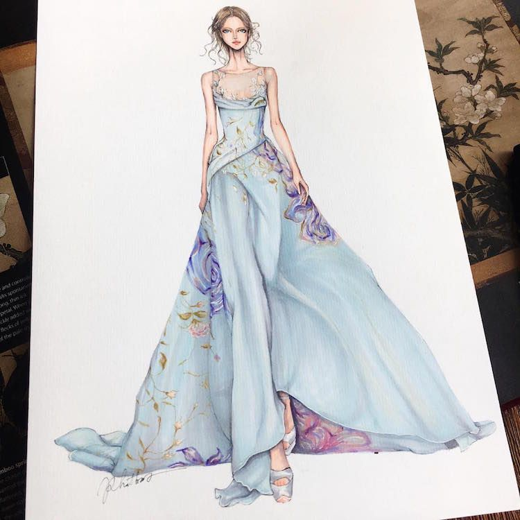 Fashion Designer Illustrates Gorgeous Gowns in Enchanting