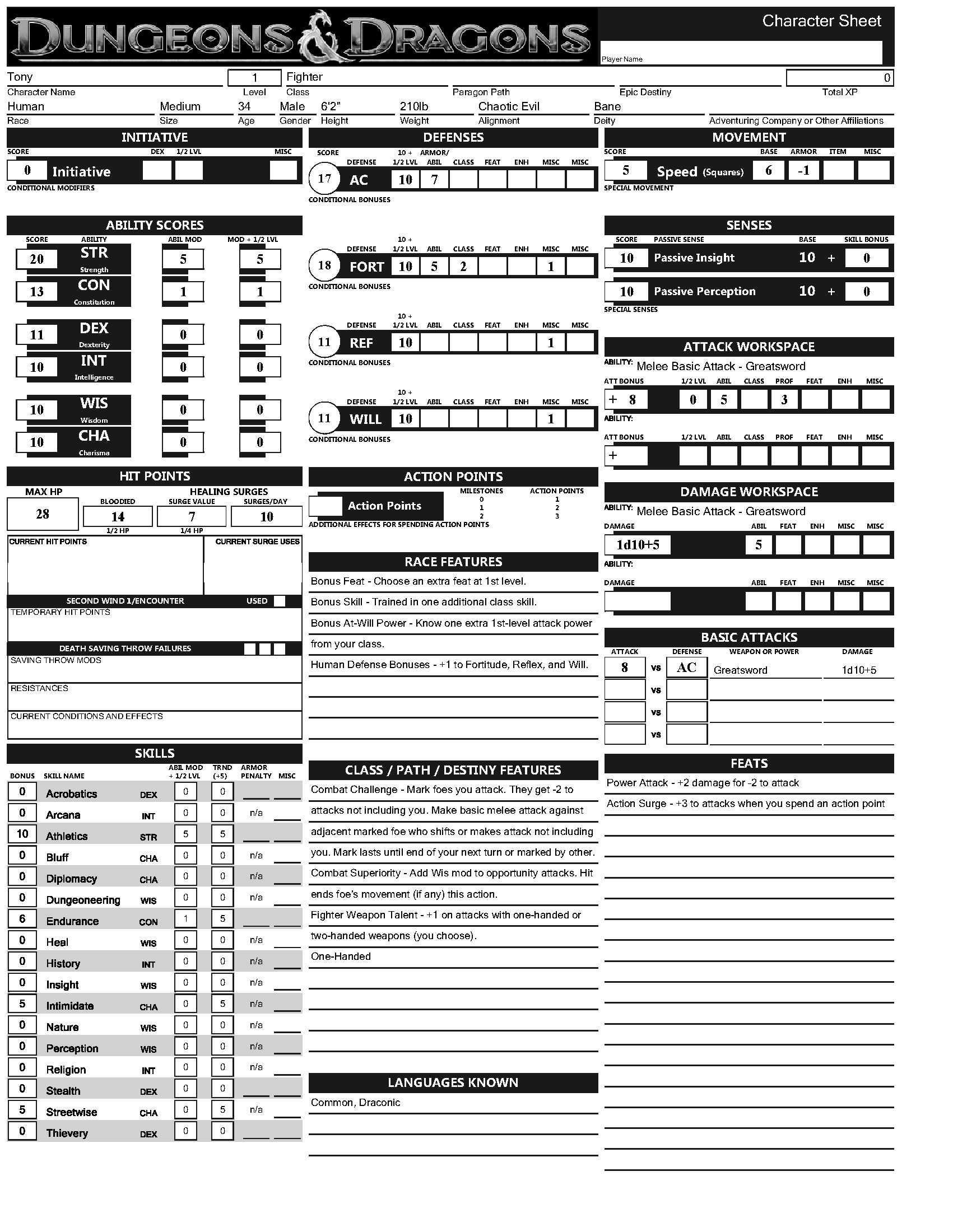 dungeons and dragons character sheet Dungeons and dragons character record sheet 35 character name campaign/ master player name race class(es) & level(s) hit dice alignment deity gender age size height weight eyes hair skin build / looks.