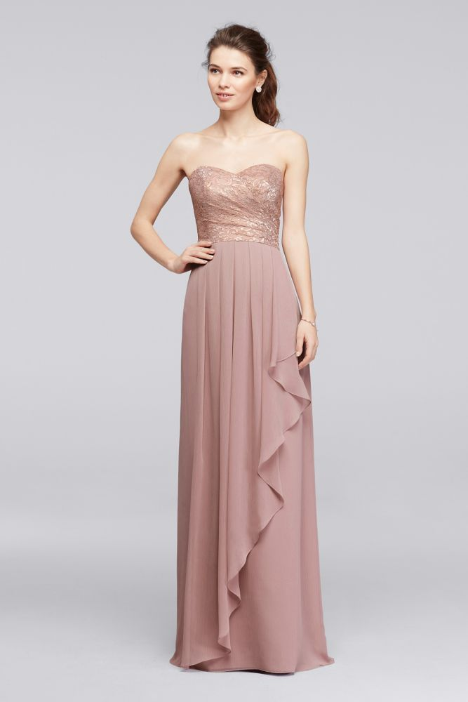 Lace Long Sweetheart Metallic Ruffled Bridesmaid Dress Rose Gold