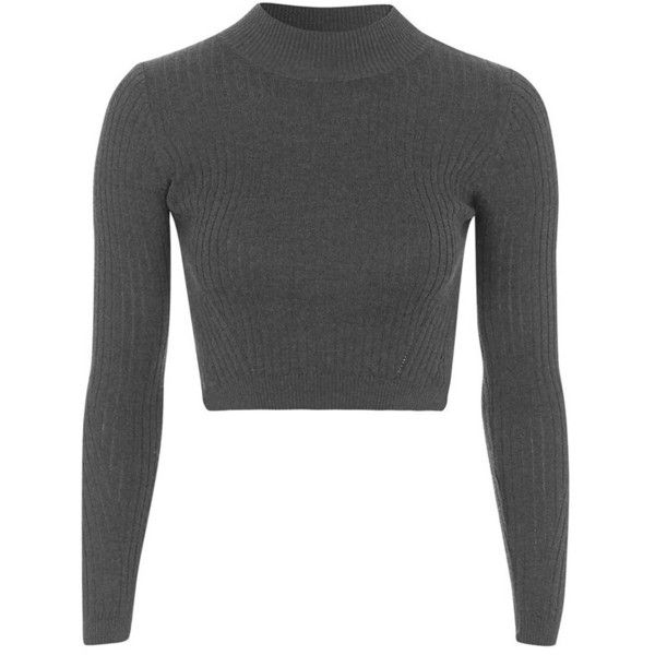 0487e4ed4c1e3d Petite Topshop Ribbed Long Sleeve Crop Top found on Polyvore featuring tops,  crop tops, shirts, petite shirts, cropped long sleeve shirt, rib shirt, ...