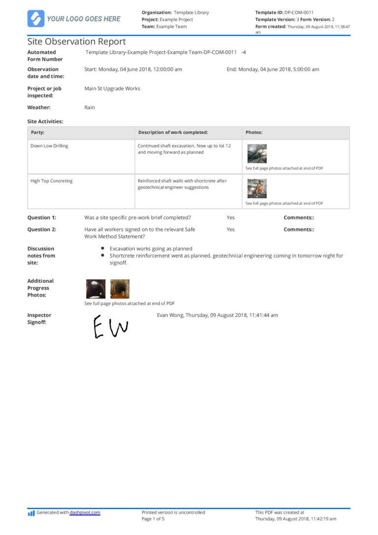 Free Site Observation Report Template (Better Than Word