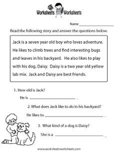 Reading Comprehension Practice Worksheet | División | Pinterest