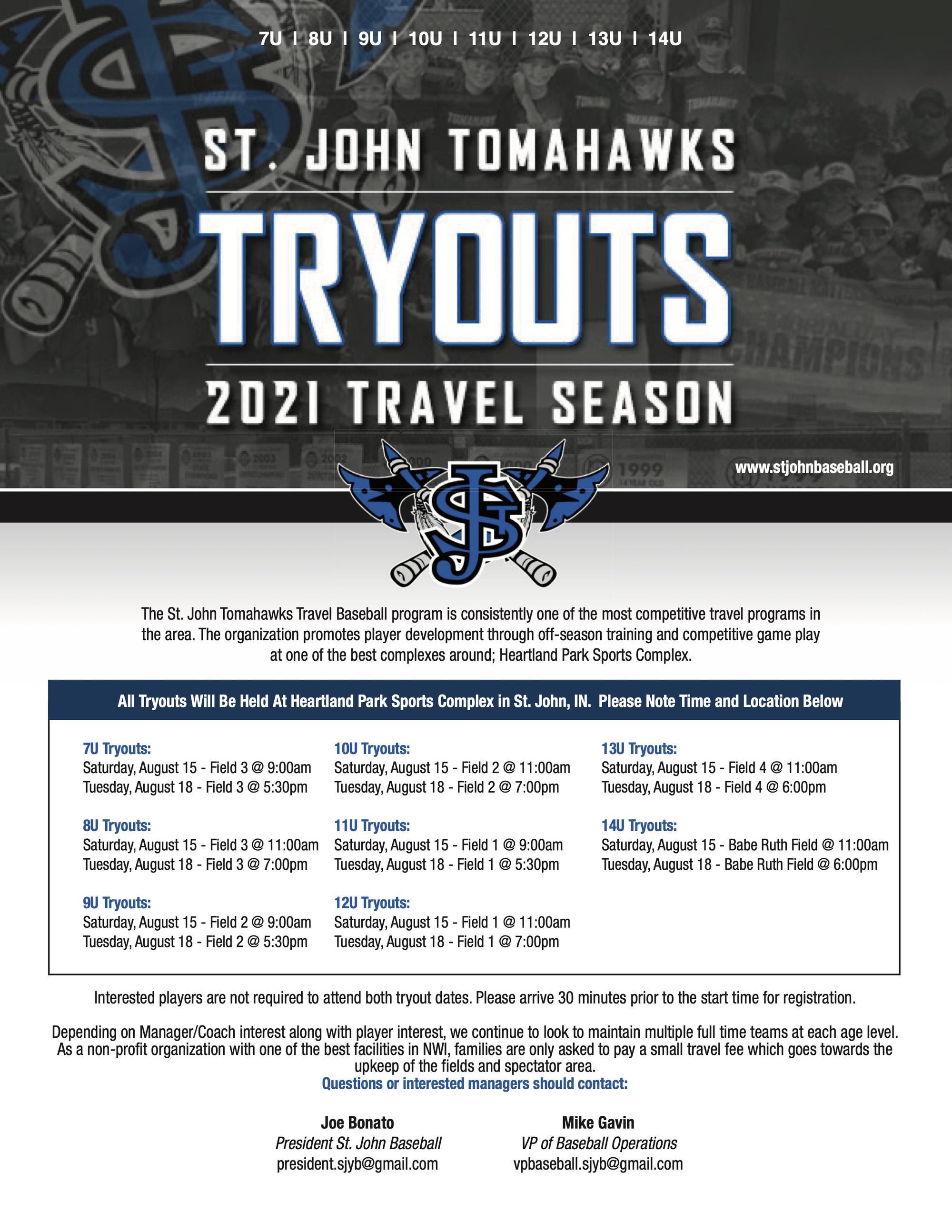 St John Tomahawks In 2020 Baseball Program Sports Complex Wabash College