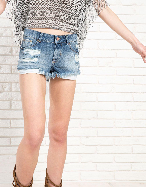 Mini short BSK denim - Shorts - Bershka España  0a161144939b