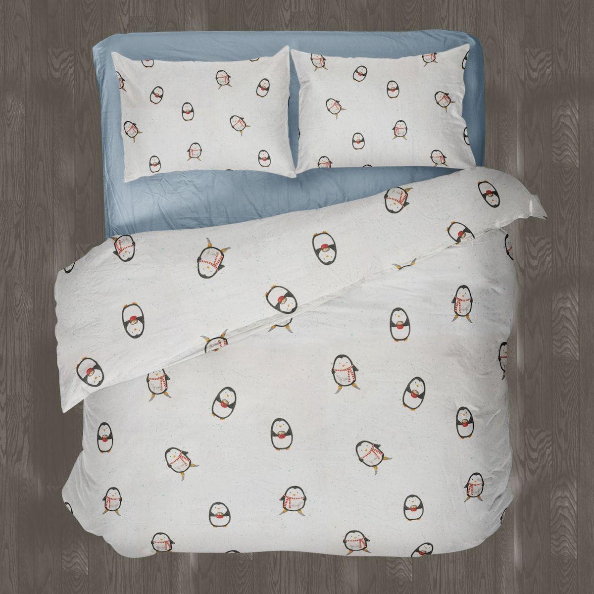 Linen Chest Winter Penguins Flannel Sheet Set And Duvet Cover Set