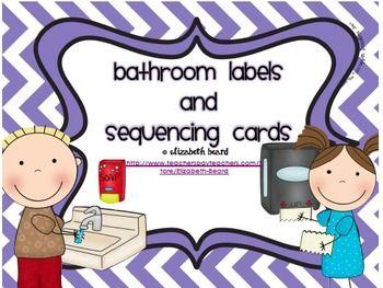 Kindergarten routines bathroom labels and sequencing - Bathroom procedures for preschool ...