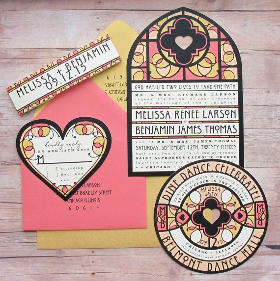 Stain Glass Window Inspired Wedding Invitation Bundled Suite For