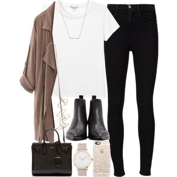 Outfit for work with a beige coat by ferned on Polyvore featuring Monki…