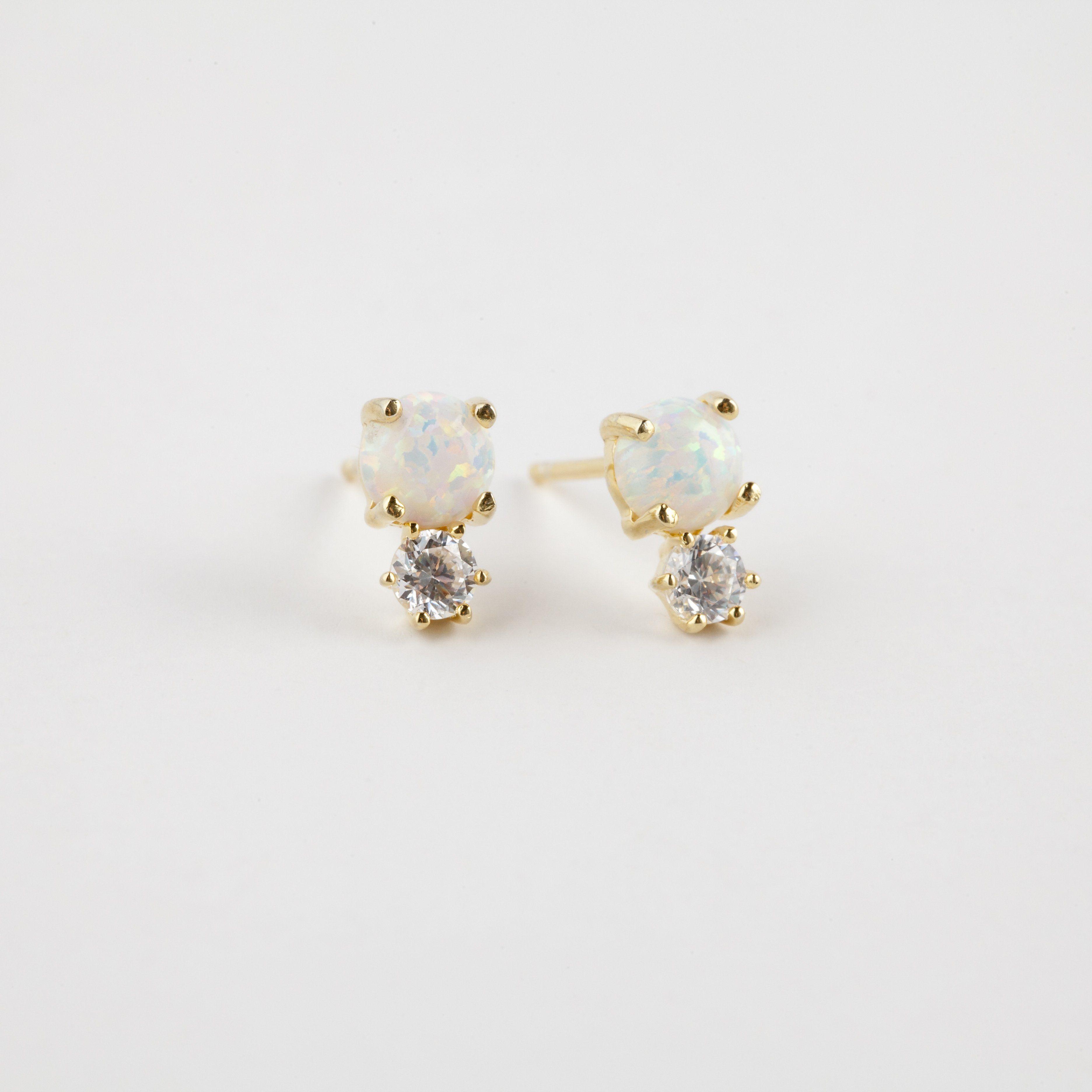 18kt Gold Vermeil2 Simulated Diamonds2 Genuine Opalssterling Silver Ear Posts For Sensitive Ears