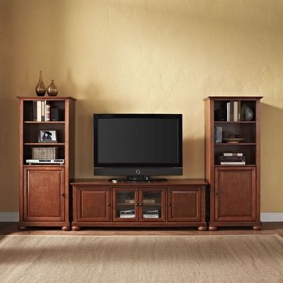"Crosley Classic Cherry Alexandria 60"" Low Profile TV Stand"