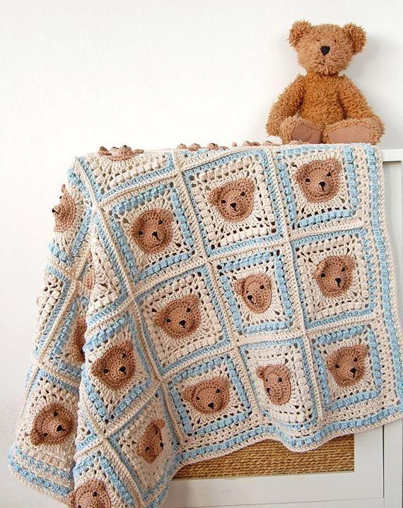 CROCHET PATTERN: teddy bear crochet baby blanket pattern and step-by-step tutorial, Häkelanleitung, baby afghan