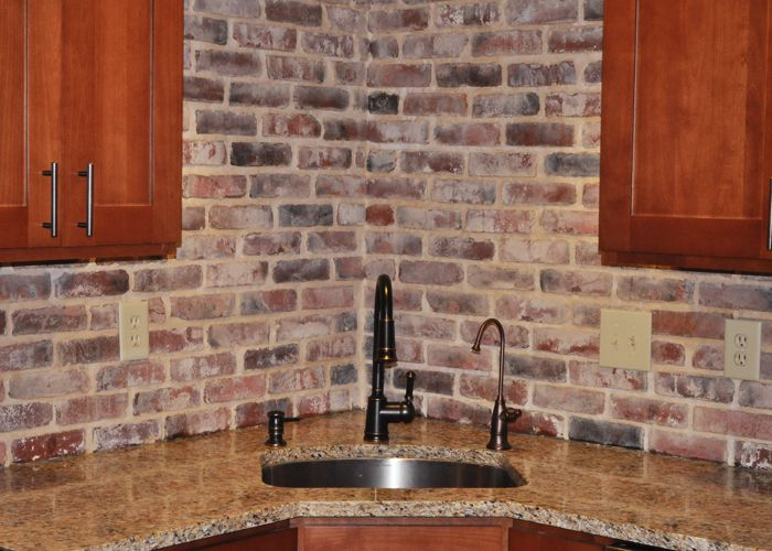 Kind Of Digging This Look Medium Oak Walnut Cabinetry Light Stone Counters And Brick Veneer Backs Faux Brick Panels Brick Paneling Kitchen Backsplash Images