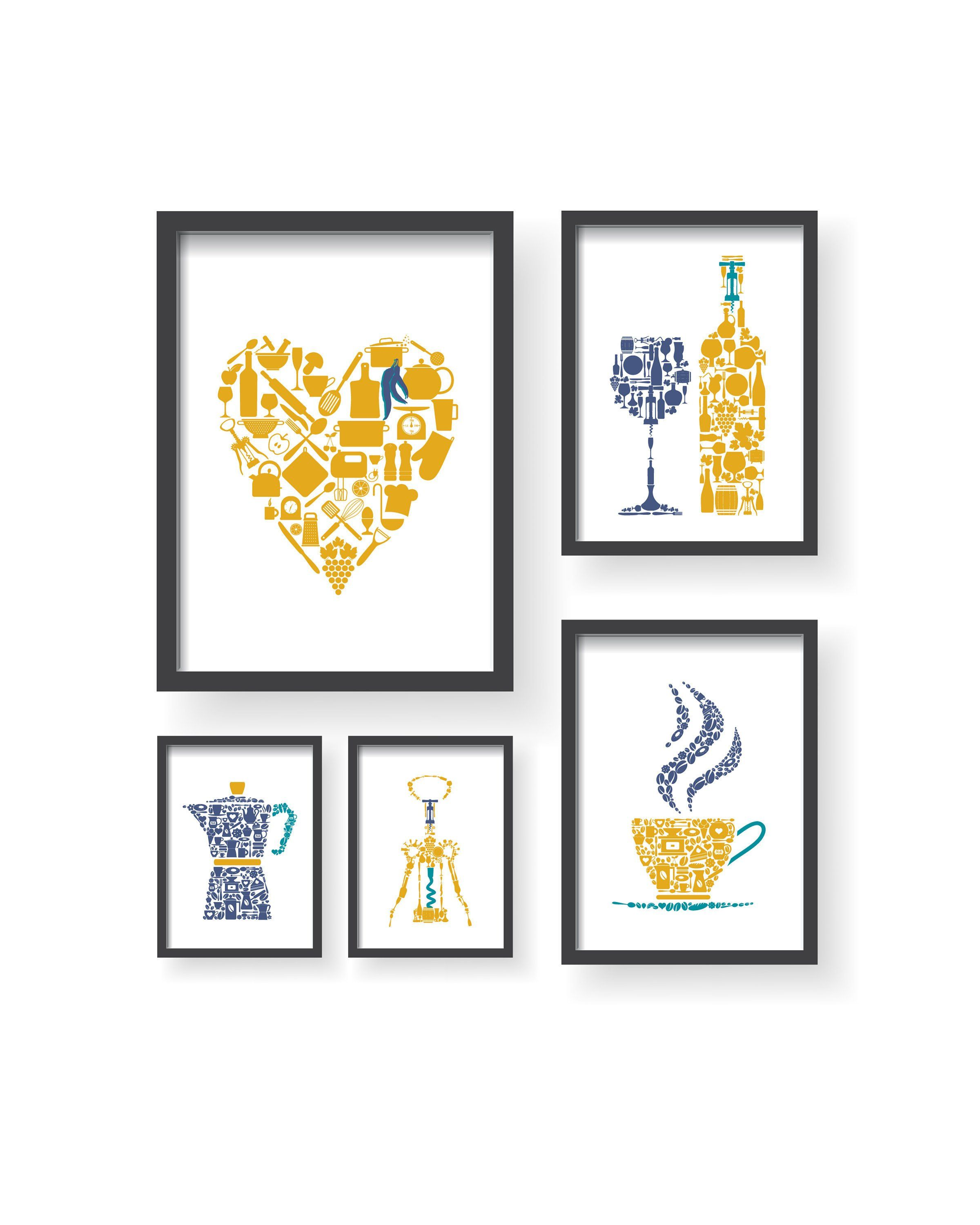 Yellow Blue Teal 5 Set Large Wall Art Unique Kitchen Decor