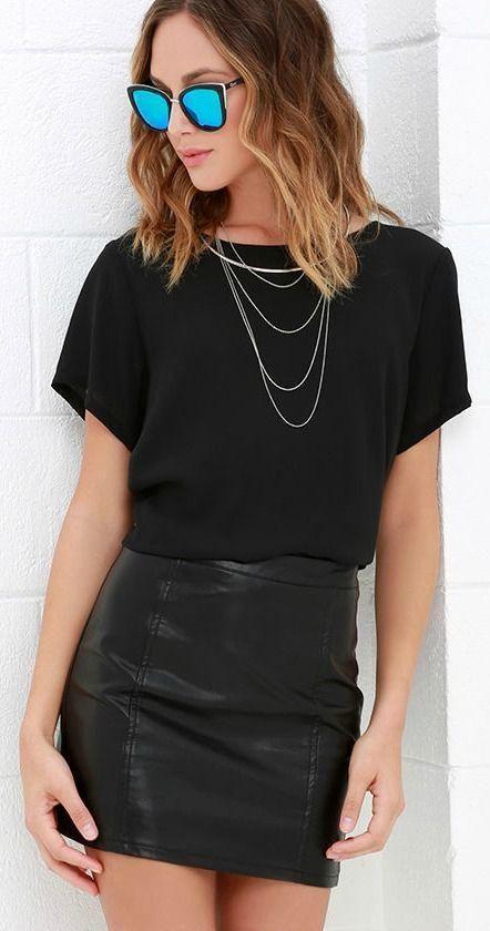 35 Outfits con faldas de cuero negras | Moda estilo, Ropa de