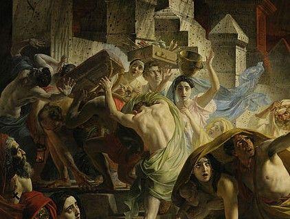 «Последний день Помпеи» Автопортрет, а также девушка с сосудом на голове — Юлия