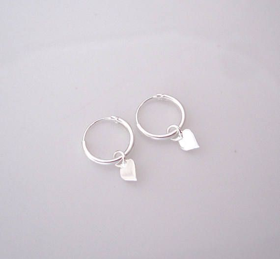 d5cd3567c2c3a Small heart charms sterling silver sleepers hoops, kids, girls ...