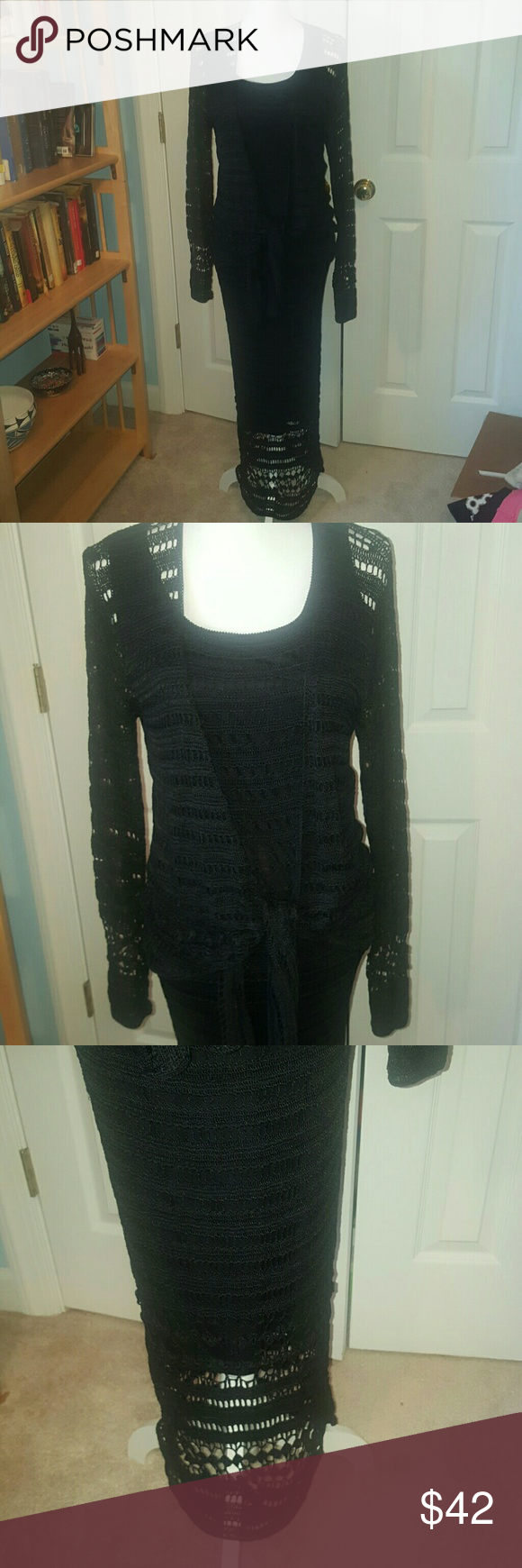 piece chicous design black crochet dress s crochet fall long