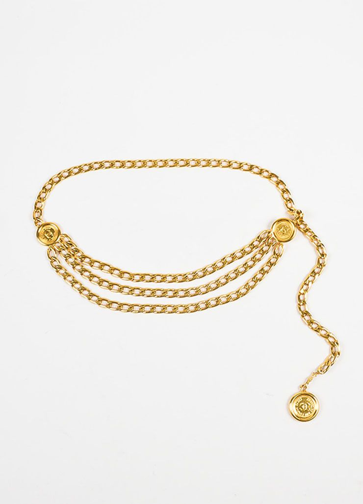 Chanel Gold Toned Triple Strand Chain Link 'CC' Coin Medallion Belt