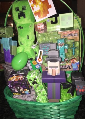 Filled minecraft easter basket 15 pieces video game creeper filled minecraft easter basket 15 pieces video game creeper zombie negle Image collections