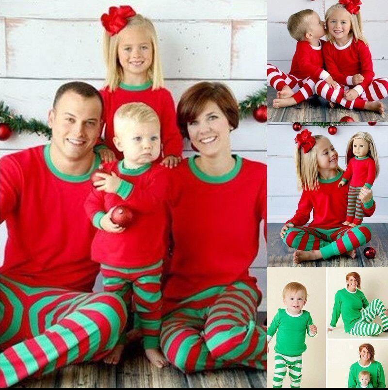 d92c62956b Christmas Family Matching Kids Baby Mom Dad Pajamas Pjs Set Xmas Gifts  Sleepwear