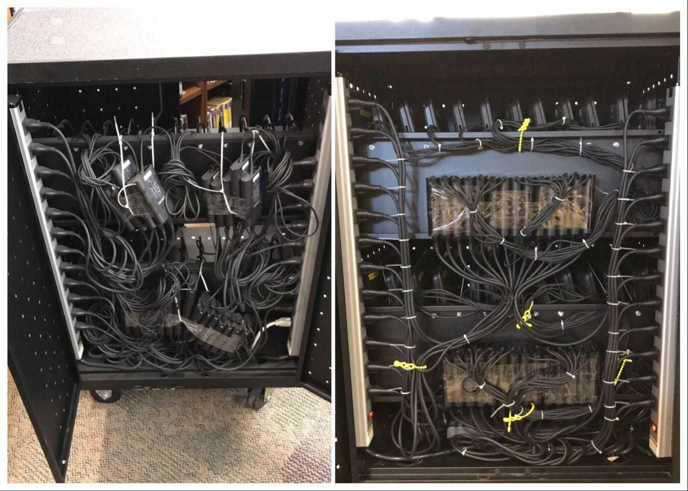 A laptop cart in the school I work at. I have 2 done and 18 more to ...