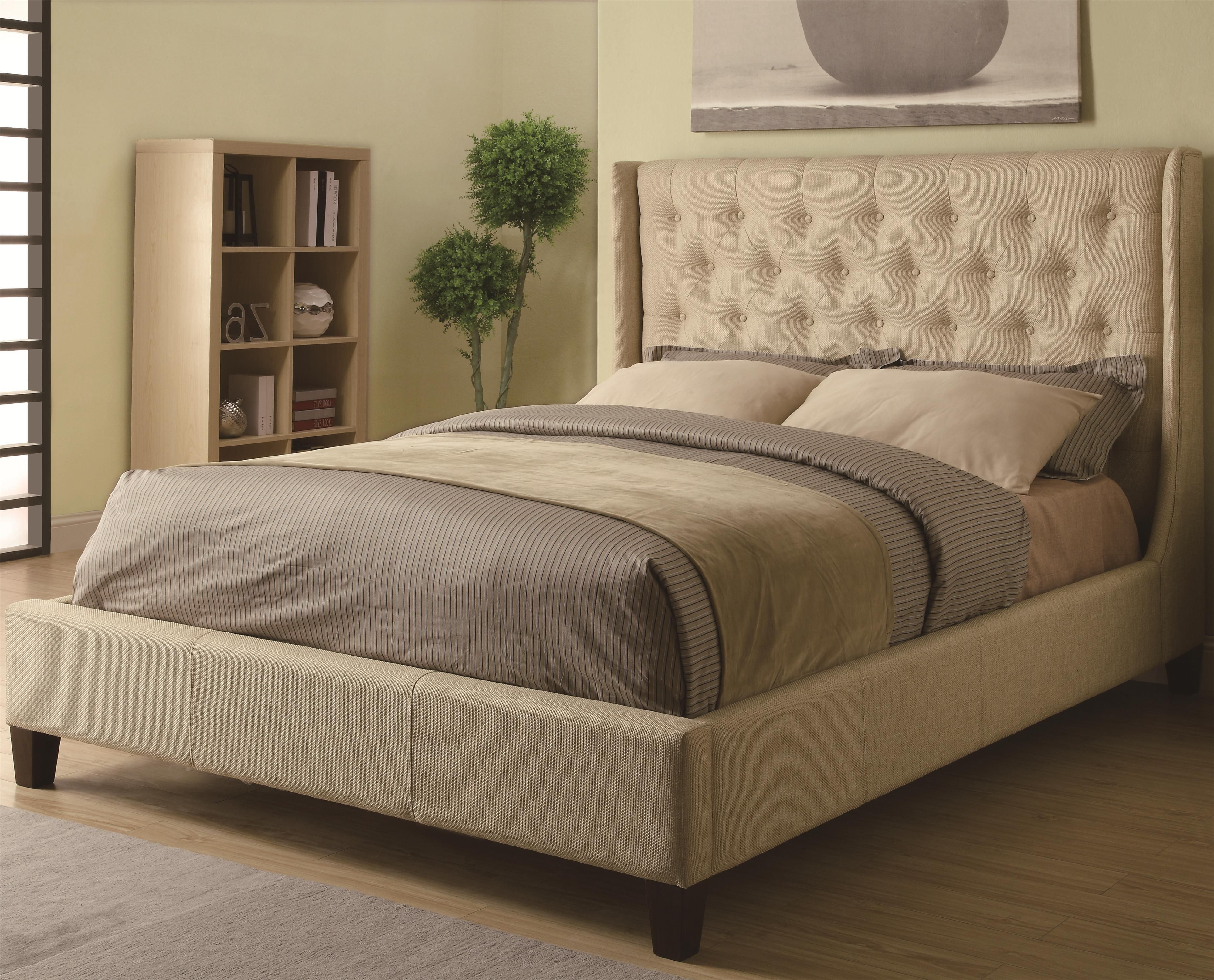 Upholstered Beds Queen Tan Upholstered Bed with Button