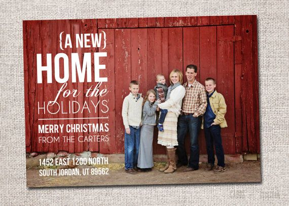 Photo Christmas Card, New Address Card: PRINTABLE - New ...