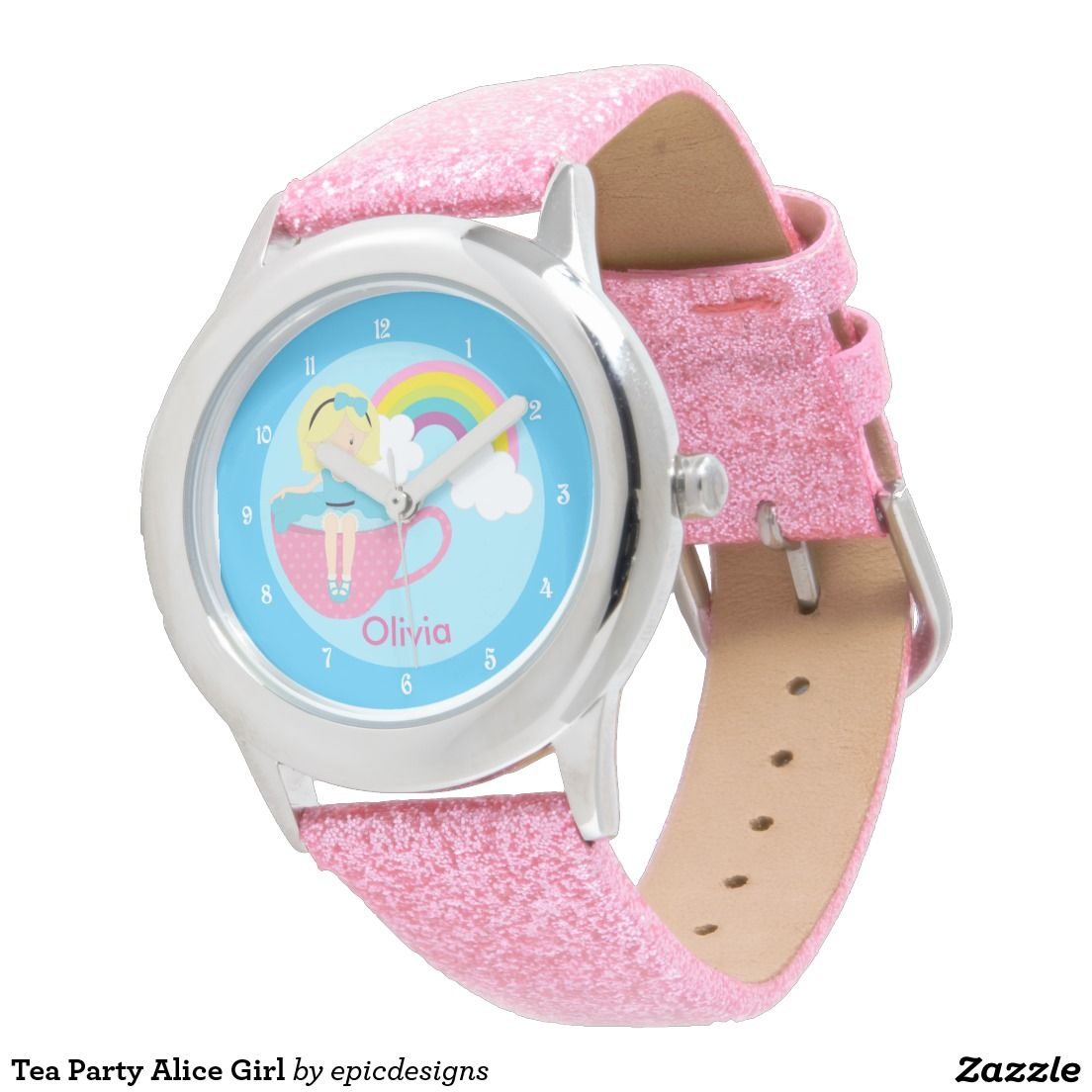 Tea Party Alice in Wonderland Girl Watch personalized with your child's name. Pretty rainbow on a cute blue sky. Great custom gift for a little girl. #aliceinwonderland