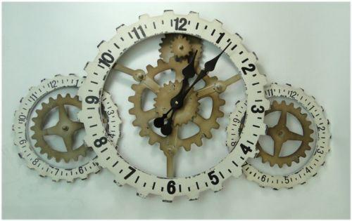 GEARS faux metal Wall Clock in factory industrial metal look wood steampunk | eBay