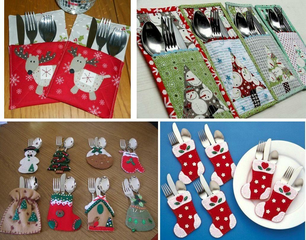 35 ideas para hacer fundas navideas para los cubiertos