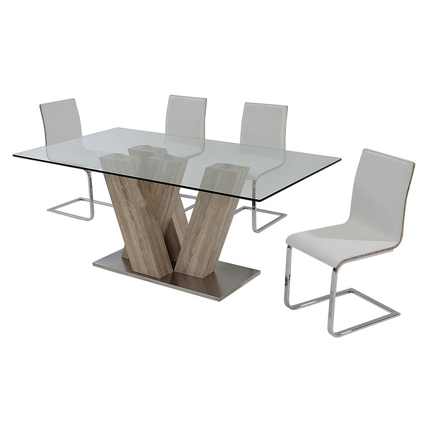 Solimar White 5 Piece Casual Dining Set