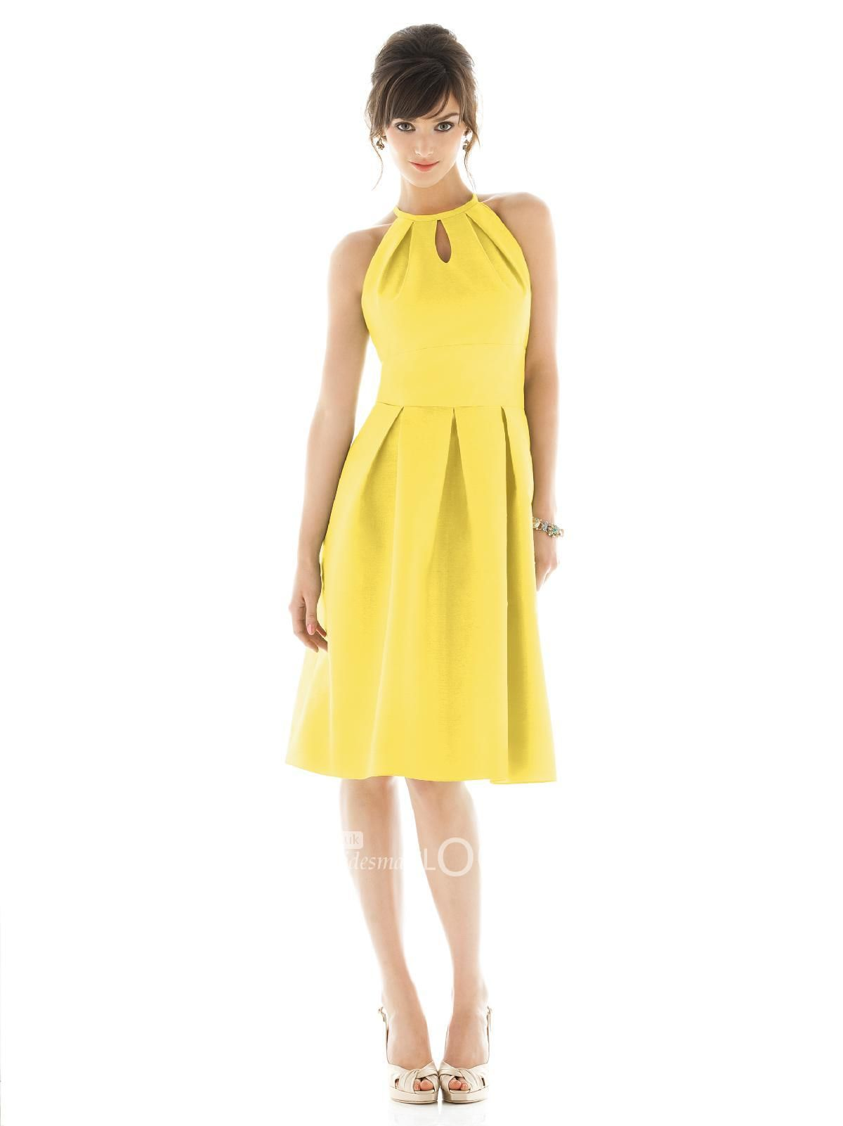 yellow short halter bridesmaid dress with keyhole neckline