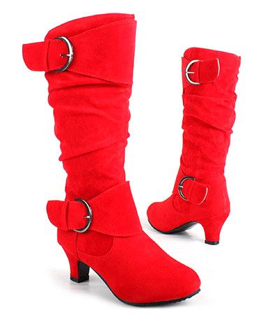 Look What I Found On Zulily Red Kitten Heel Slouch Boot By West Shoes Zulilyfinds With Images Boots Red