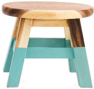 Superb 10In Round Dipped Leg Acacia Wood Step Stool In 2019 Andrewgaddart Wooden Chair Designs For Living Room Andrewgaddartcom