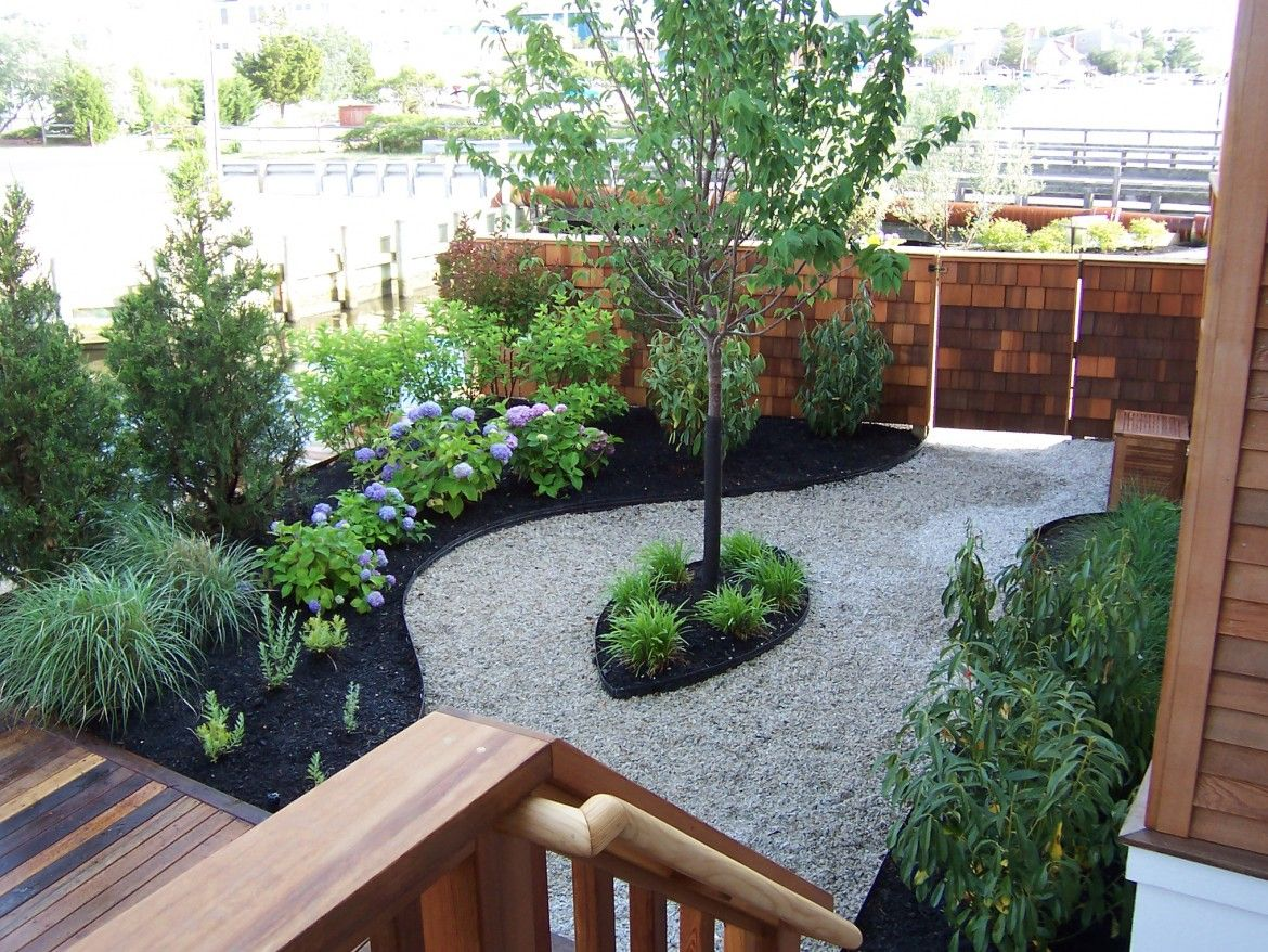 Backyard Garden With Faux Brick Wall Fence Also Wooden Terrace And Stairway Also Sand A With Images Online Landscape Design Simple Landscape Design Garden Landscape Design