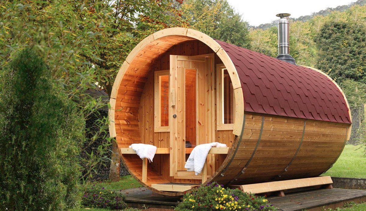 Finnhaus Fasssauna 400 De Luxe 235 400 242 Cm Rote Schindeln Ohne Ofen Saunafass Gartensauna Sauna Im Garten