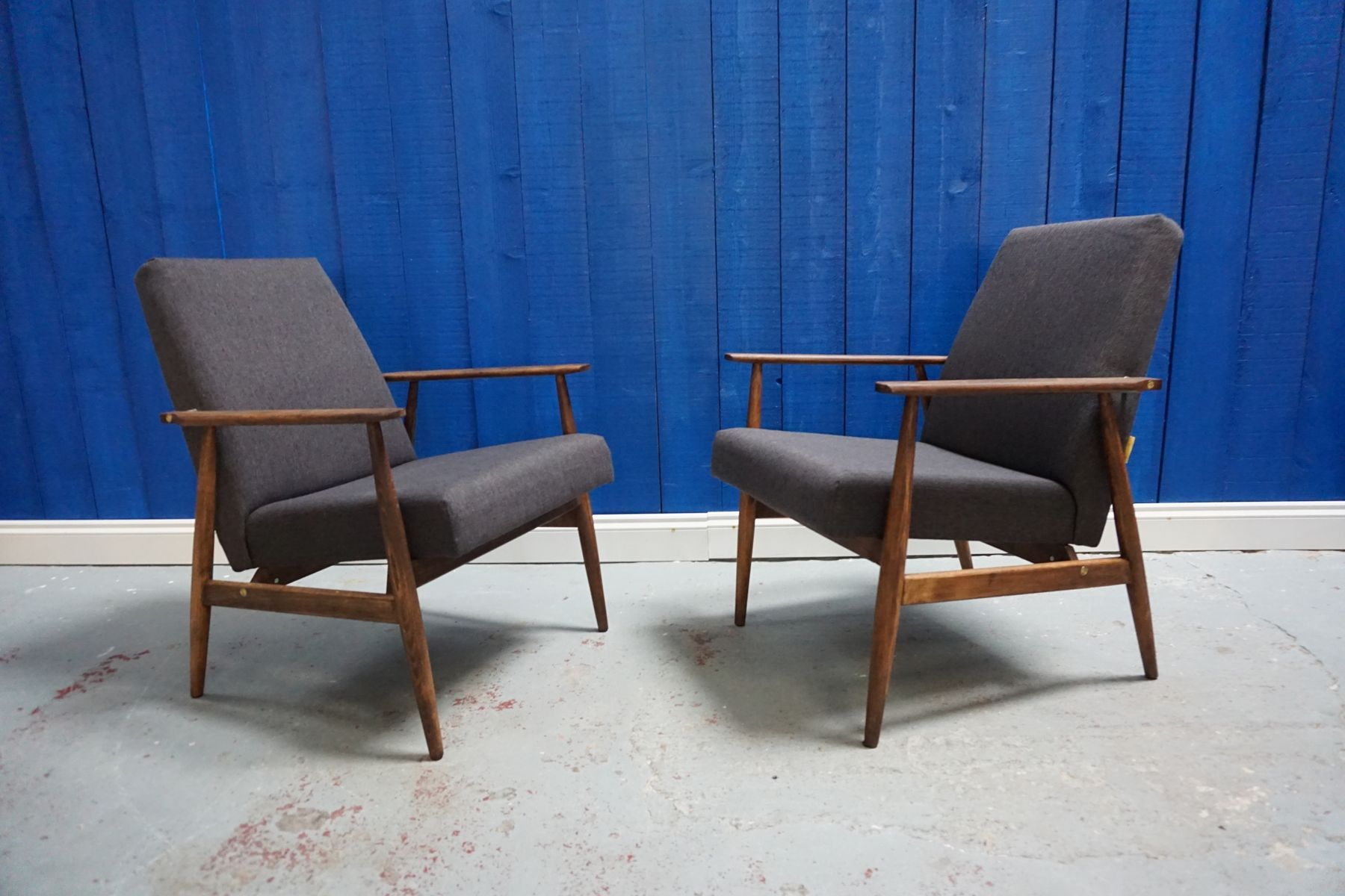 Design Tv Sessel Dunkelgrauer Vintage Sessel Von H Lis 1970er 2er Set In