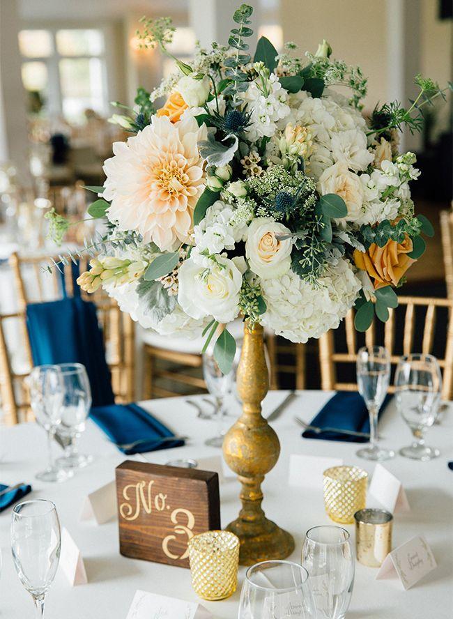 82940c2b005b9 Classic Navy & Gold Wedding in Maryland | Wedding Bouquets ...