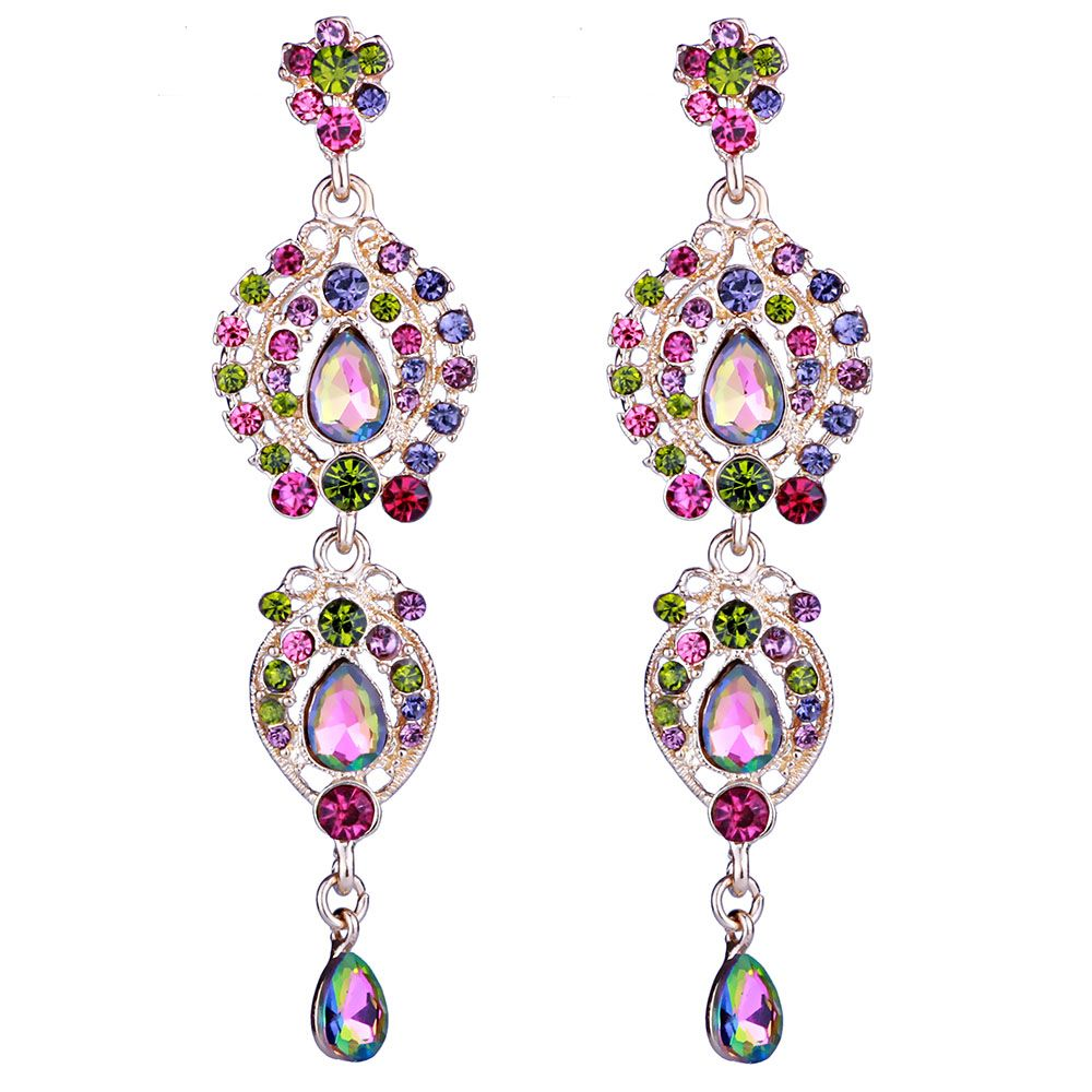 Farlena jewelry colorful chandelier crystal long drop earrings for farlena jewelry colorful chandelier crystal long drop earrings for women bridal jewelry wedding accessories arubaitofo Images