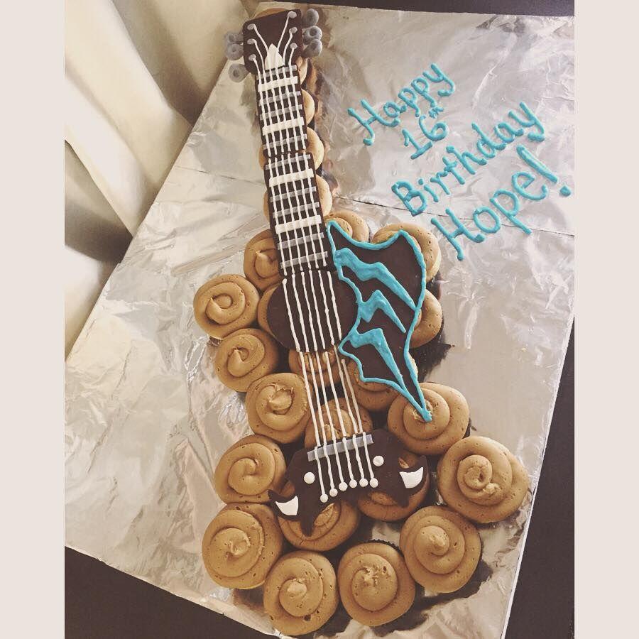 Guitar Cupcake Cake Guitarcake Guitar Cupcakecake Cakeideas
