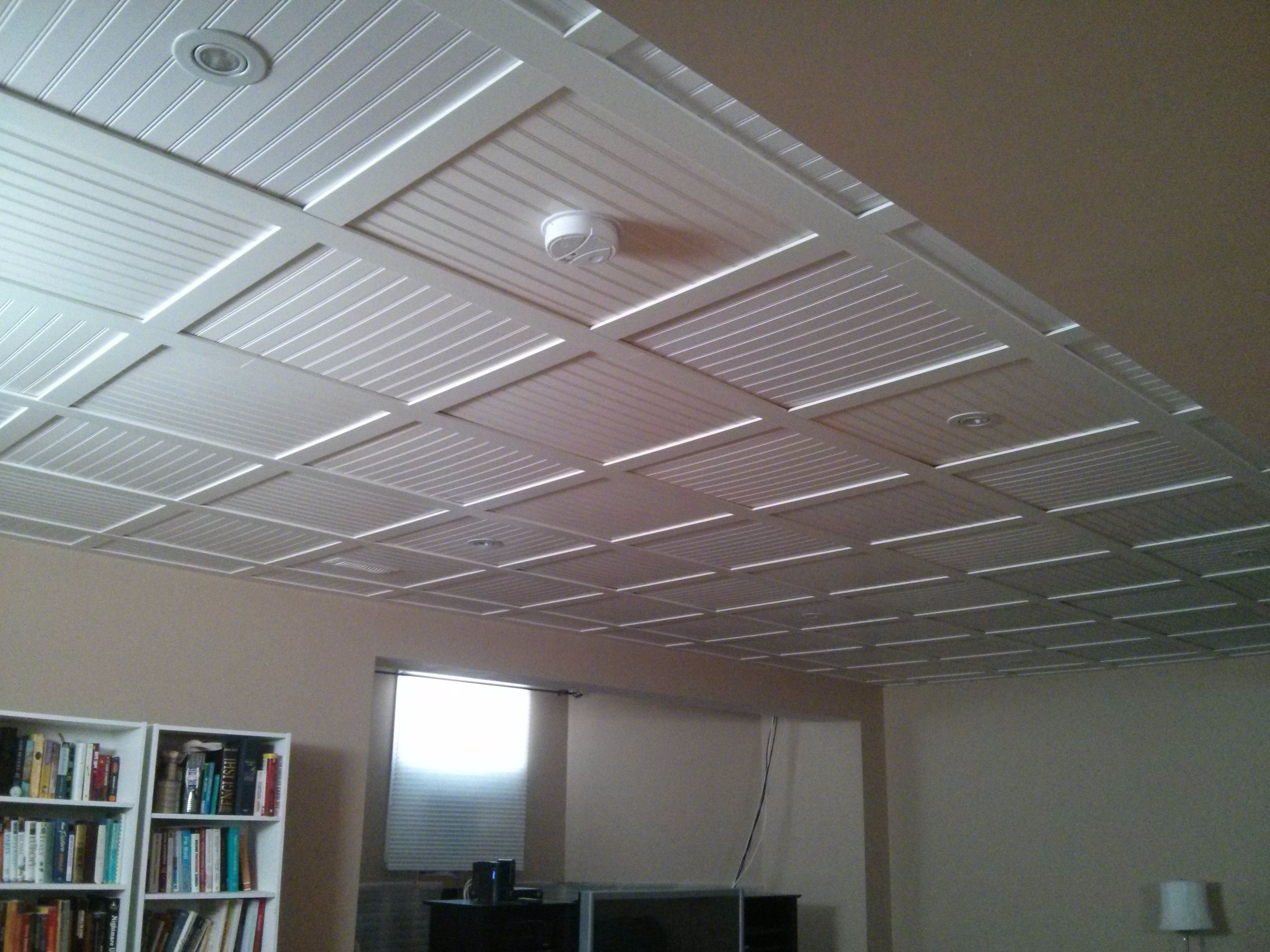 down for tiles drop ceilling faux spacious plastic x ceiling copper ceilings look