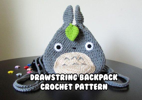 Crochet pattern totoro mini backpack crochet backpack pattern crochet pattern totoro mini backpack crochet backpack pattern totoro studio ghibli water bottle backpack drawstring pouch dt1010fo